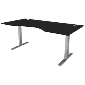 Hæve-sænke-bord Square, med mavebue, 160 x 90 cm, sort/aluminium