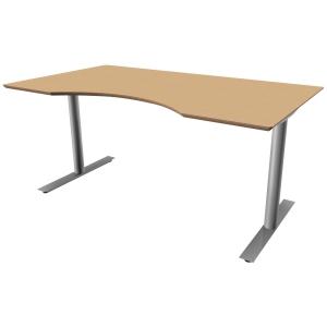 Hæve-sænke-bord Inline, med mavebue, 160 x 90 cm, bøg/aluminium