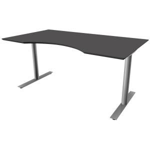 Hæve-sænke-bord Inline, med mavebue, 160 x 90 cm, antracit/aluminium