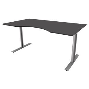 Hæve-sænke-bord Inline, med mavebue, 200 x 100 cm, antracit/aluminium