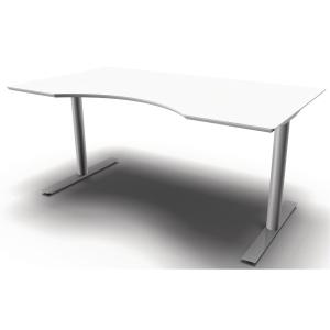Hæve-sænke-bord Inline, med mavebue, 200 x 100 cm, hvid/aluminium