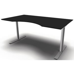 Hæve-sænke-bord Jazz/Inline med mavebue sort/alu 160 x 90 cm