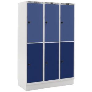 Garderobeskab Blika 3 søjler 6 bokse blå