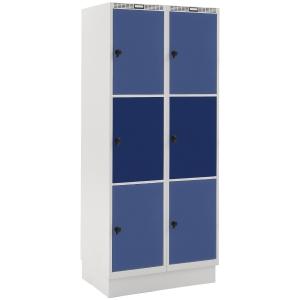 Garderobeskab Blika 2 søjler 6 bokse blå