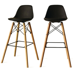 PAPERFLOW STEELWOOD BARSTOOL SET OF2 BLK