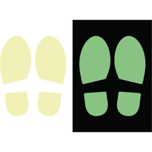 Klistermærke fodaftryk fluorescerende