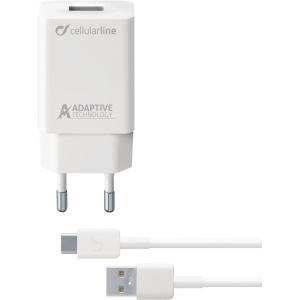 Oplader Cellularline Type-C sæt 15 W, 1 m, hvid