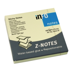 Sticky Z-notes info, 75 x 75 mm, pastelgul, pakke a 12 stk.