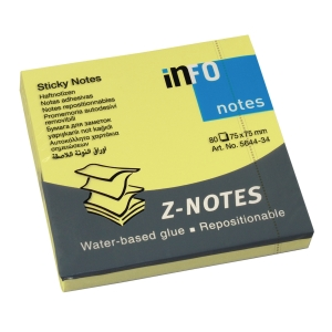 Sticky Z-notes info, 75 x 75 mm, brillant gul, pakke a 12 stk.