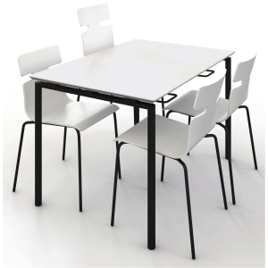 ZIGNAL CANTEEN TABLE 120X80 WHITE W/BLK