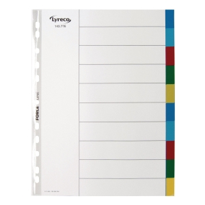 LYRECO POLYPROPYLENE MULTI COLOURED A4 10-PART TABBED INDEX SUBJECT DIVIDERS