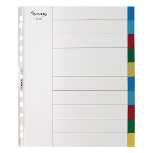 LYRECO POLYPROPYLENE ASSORTED EXTRA WIDE A4 10PART TABBED INDEX SUBJECT DIVIDERS
