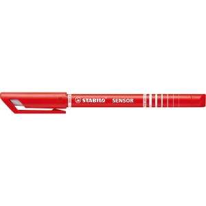 Fineliner Stabilo Sensor 189, 0,3 mm, rød, æske a 10 stk.