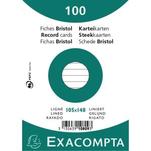 Kartotekkort A6 linieret 10,5 x 14,8 cm bundt a 100 stk