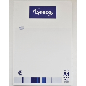 LYRECO NOTEPAD GLUED 100S A4 5X5 60G