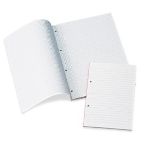 NOTESBLOK A4 SIDELIMET LINJERET MED MARGEN OG HULLER