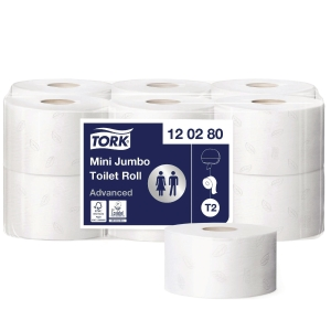 Toiletpapir Tork T2 2-lag Advanced Jumbo Mini 120280 karton a 12 ruller