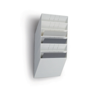 Skråfag Durable Flexiboxx, 6 bakker, A4, liggende, hvid