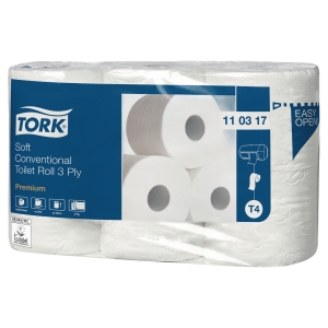 Toiletpapir Tork T4 hvid 3-lag premium ekstra Soft 110317 sæk a 42 ruller