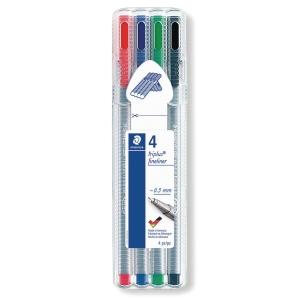 Fineliner Staedtler triplus 334, 0,3 mm, pakke a 4 farver