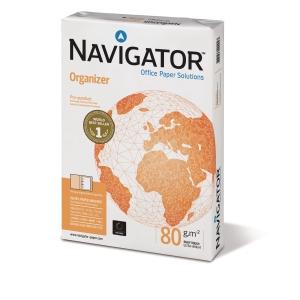 Multifunktionspapir Navigator Organizer med hul A4 80 g kasse med 5 x 500 ark