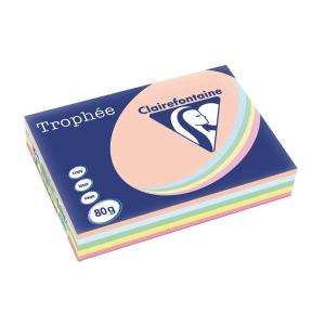 Farvet papir Trophée A3 80g ass. pastelfarver 1707 pakke a 5x100 ark