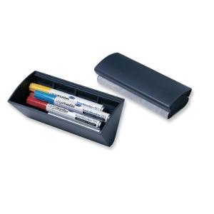 Penneholder til whiteboard Legamaster, med magnet og visker, mørkegrå