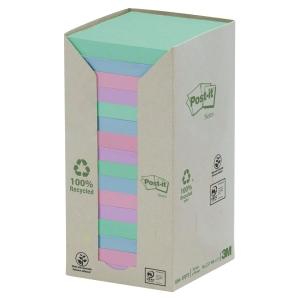 Post-it® genbrugsnotes 654-1RPT 76mm x 76mm regnbuepastel pakke a 16 blokke