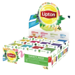 Te Lipton display med 180 tebreve i 12 varianter