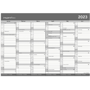Kalender Mayland Basic 2680 00, 2 x 6 måneder, 2020, A4, grå