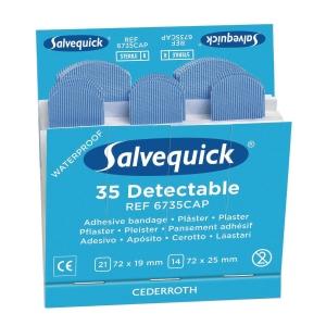 Plaster sporbart Orkla Care Salvequick 6735cap blå, æske a 6 sæt