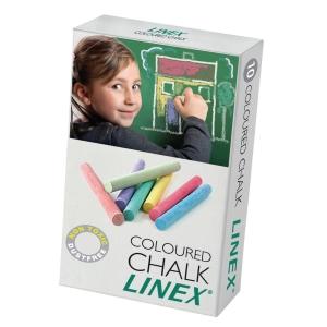 Tavlekridt Linex, rund, pakke a 10 farver