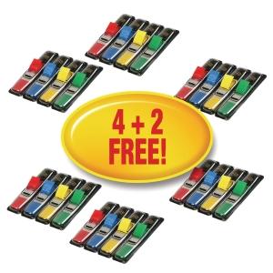 Post-it® indexfaner smalle 683-4 P42 assorterede farver pakke a 6 sæt