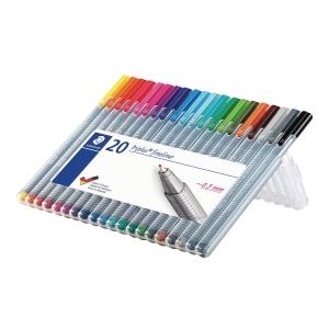 Fineliner Staedtler triplus 334, 0,3 mm, pakke a 20 farver