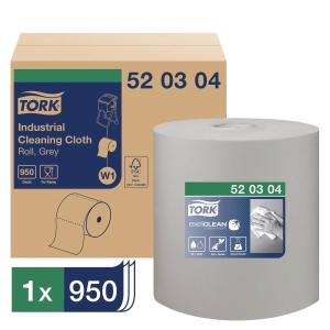 Aftørringsklud Tork W1, industri, grå, 950 ark