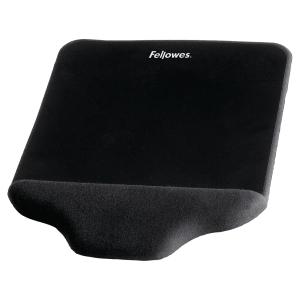 Musemåtte med håndledsstøtte Fellowes Plush Touch sort