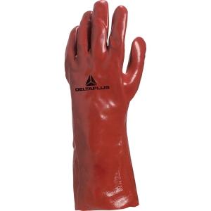 Handsker Deltaplus PVC-handske 7335 rød str. 10, æske a 12 par