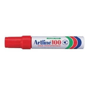 Permanent marker Artline 100, skrå, rød