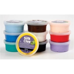 Silk Clay standard, 40 g, pakke med 10 farver