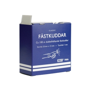 Klæbepuder ETAB 700A 25 x 12 mm hvid, pakke a 100 stk.