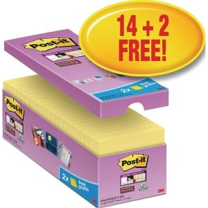 Post-it® super sticky notes storkøbspakke 654-P16SSCY 76x76mm gul pk a 16 blokke