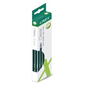 Blyant Linex, HB, med viskelæder, grøn, pakke a 12 stk.
