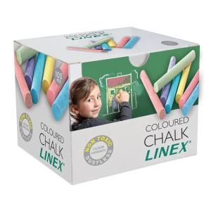 Tavlekridt Linex, rund, assorterede farver, pakke a 100 stk