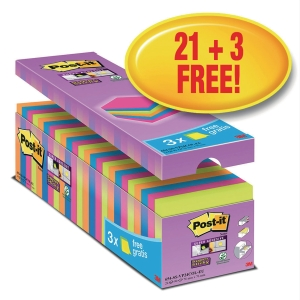 Post-it Super Sticky Notes, 76 x 76 mm, ass., pakke a 24 blokke