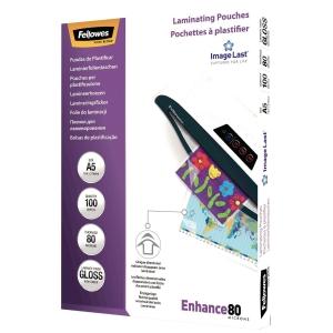 Lamineringslommer Fellowes A5 0,08 mm pakke a 100 stk