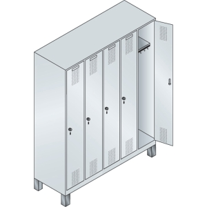 EVOLO LOCKER BASE 5 ROOMS 1500MM GRY/GRY