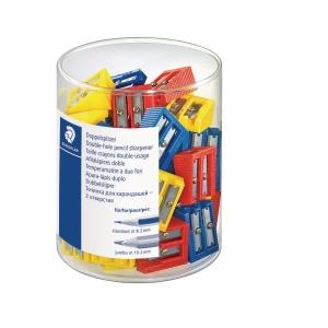 Blyantspidser Staedtler, 2 hul, assorterede farver, pakke a 50 stk.