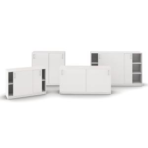 Skab med skydedøre Jive 6 rum 115x116x42cm hvid