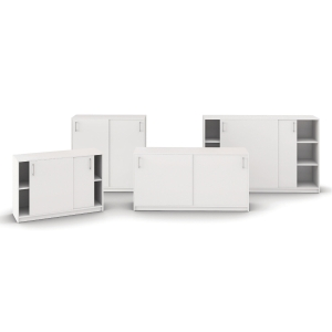 Skab med skydedøre Jive 6 rum 115x160x42cm hvid