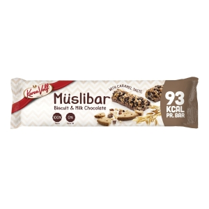 Muslibar Karen Volf Biscuit og mælkechokolade, 25 g, pakke a 24 stk.